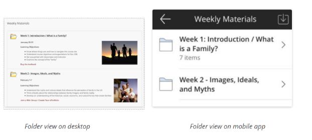 Screenshot of Blackboard on desktop and Blackboard on mobile